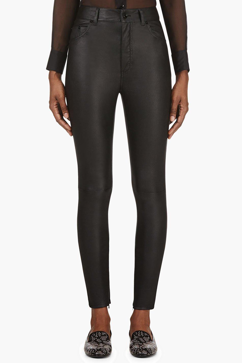 Saint laurent black leather skinny high waist trousers