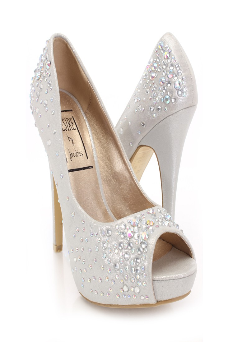 Silver Shimmery Rhinestone Sexy Heels @ Amiclubwear Heel Shoes online store sales:Stiletto Heel Shoes,High Heel Pumps,Womens High Heel Shoes,Prom Shoes,Summer Shoes,Spring Shoes,Spool Heel,Womens Dress Shoes,Prom Heels,Prom Pumps,High Heel Sandals,Cheap D