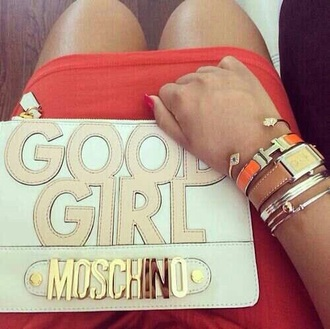 bag gold white clutch handbag shiny metallic italian fashion runway retro good girl moschino going out metallic clutch