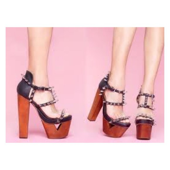shoes wood high heels jeffrey campbell jeffrey jc heel stud studded heels studs wood heels sandals foxy studded shoes