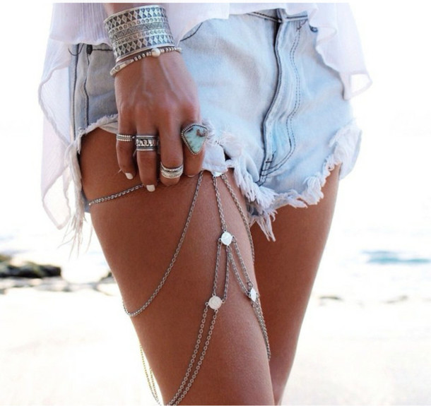 jewels bijoux corporate chic argent gold jewelry leg chain leg jewelry hippie jewelry boho jewelry tribal body jewelry