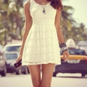dress,white,white dress,jewels,mini dress,summer dress,short,spitze,lace,skater,pretty,indie,beautiful,summer,sexy,swag,cute,cute dress,blonde hair,wheretoget??,thisdress,clothes,lace dress,summer outfits