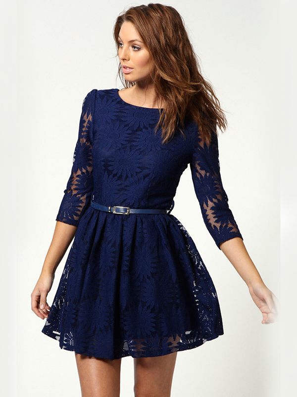 Lace Round Neck Princess Midi Plain Dress : KissChic.com