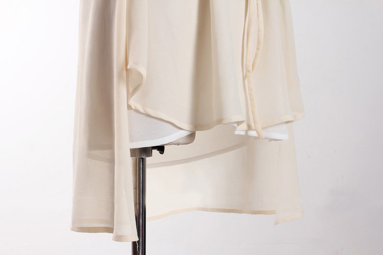 Irregular Drawstring Waist Dress in Apricot [DLN0670] - PersunMall.com
