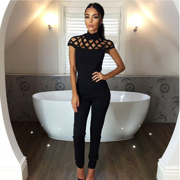 c2d93c0b846 romper black black romper black jumpsuit caged sexy jumpsuit clubwear  strappy strappy romper musthave long romper