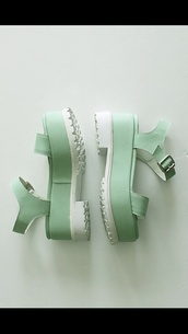 shoes,mint,white,platform shoes,flatforms,sandals,platform sandals,pastel,teal,pastel green,japanese streets,japanese,korean fashion,japanese fashion,wedges,strappy sandals,straps,buckles,green,mint green sandals,green sandals,bread and butter