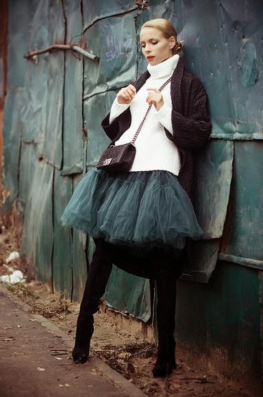 tulle skirt cardigan blogger bag tini tani black boots sweater turtleneck white sweater