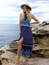 dress,chiclook closet,blue,maxi dress,fashion,trendy,style,girly,tribal pattern,boho,boho chic,summer,summer dress