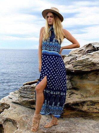 dress chiclook closet blue maxi dress fashion trendy style girly tribal pattern boho boho chic summer summer dress