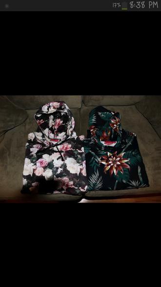 jacket floral print floral hoodie hoodie crew neck hawaiin print supreme