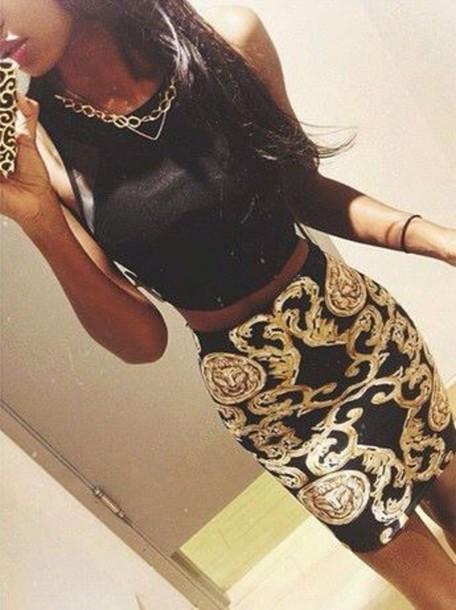 skirt gold bodycon dress