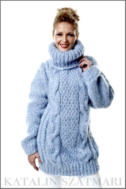 sweater blue sweater winter warm sweater cabled sweater thick sweater mohair sweater women's sweater fuzzy sweater turtleneck sweater hand knitted sweater man's sweater