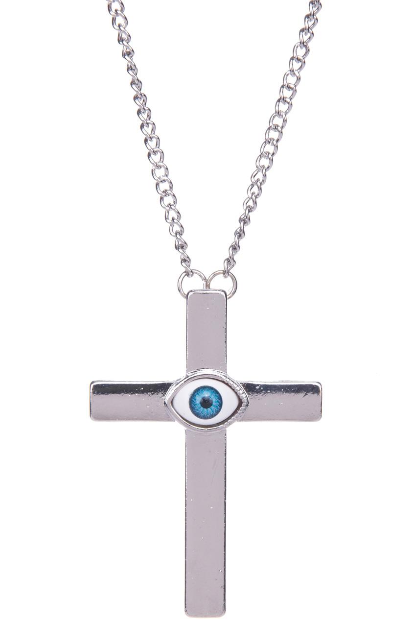 ROMWE | Oversized Eye Cross Charm Pendant Necklace, The Latest Street Fashion
