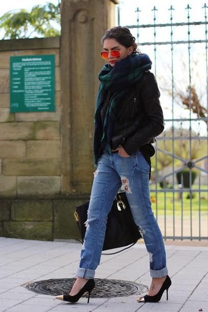 fashionhippieloves jacket jeans scarf bag shoes sunglasses