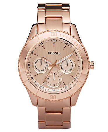 Fossil Watch, Women's Stella Rose Gold-Tone Stainless Steel Bracelet 37mm ES2859 - All Watches - Jewelry & Watches - Macy's