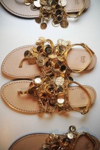 shoes gold dolce and gabbana dolce & gabbana d & g d&g flat sandals coins d&g shoes