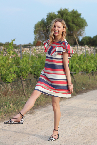 cocos tea party blogger dress jewels red dress striped dress mini dress ruffle blue dress animal print lace up blue white red outfit leopard printed ballerinas