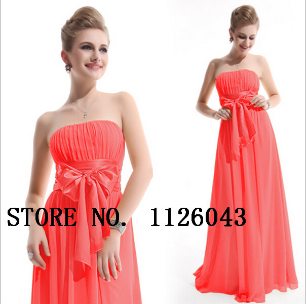 Aliexpress.com : Buy Long Coral Bridesmaid Dress 2014 Free Shipping Strapless Big Bow Chiffon Wedding Party Dress Cheap Bridesmaid Dress Under $100 from Reliable Bridesmaid Dresses suppliers on Simple Fashion Co.,Ltd