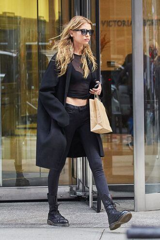 top all black everything stella maxwell boots sunglasses fall outfits model off-duty streetstyle