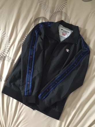 jacket champion jacket black navy red medium supremexchampion warmup supreme jacket supreme champion black jacket logo deadstock