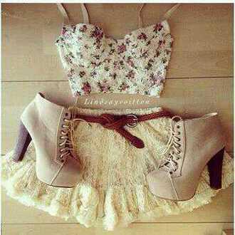 top shoes skirt crop tops