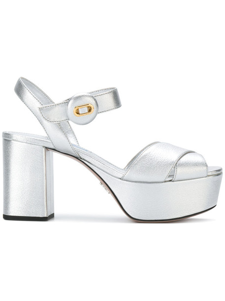 women sandals platform sandals leather grey metallic shoes