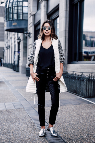 viva luxury blogger metallic shoes silver shoes knitted cardigan black pants straight pants