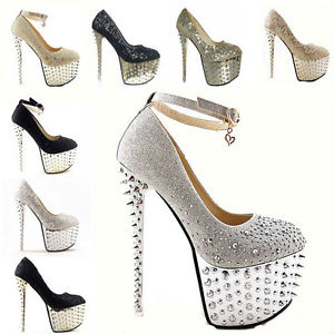 Glitter Super Studded Gorgeous Spike Epulary Evening Party Queen High Heels | eBay