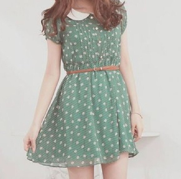 dress green dress instagram polka dots collar
