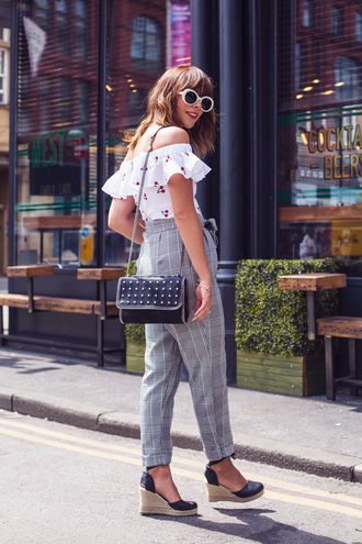 top tumblr white top off the shoulder off the shoulder top pants grey pants sandals wedges wedge sandals bag sunglasses white sunglasses shoes glasses sunnies accessories accessory
