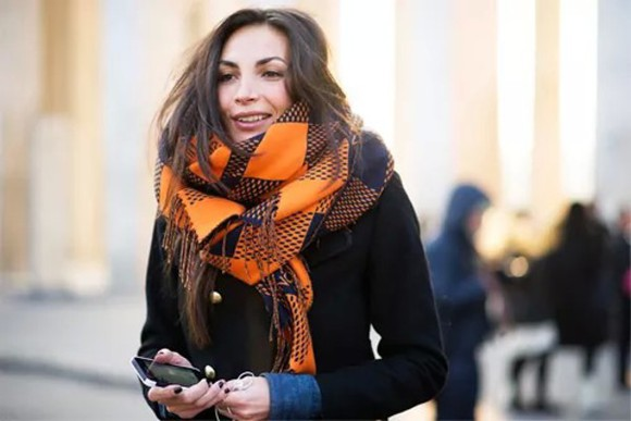 orange scarf new yor style winter/autumn flannel scarf