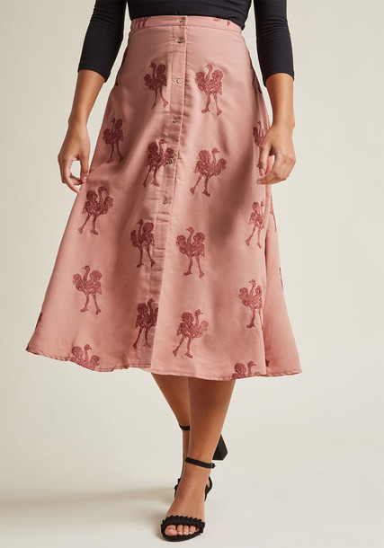 108488 skirt embroidered rose new soft midi salmon