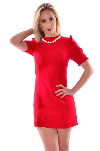 Womens Marin Plain Necklace Neck Half Sleeve Dress in Red