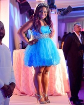 dress,reginae carter,reginae,blue dress,prom dress,short dress,birthday dress,homecoming dress,short prom dress,hair accessory