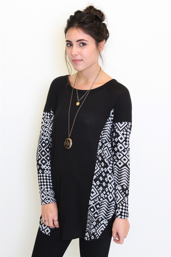 Aztec paneled sweater