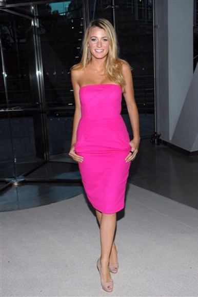 dress pink dress neon strapless dress blake lively gossip girl serena van der woodsen michael kors