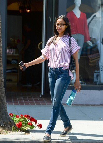 shirt denim jeans zoe saldana