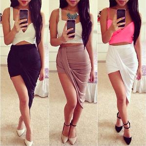 Sexy Wrap Banded Waist Draped Cut Out Asymmetrical Hi Low Skirt S M L