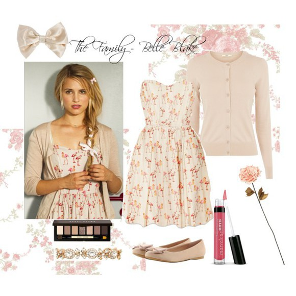 print dress cute print summer dress flamingo flamingo print cardigan nude rose dianna agron paul&joe paul&joe sister contess flamingo print dress strapless bows
