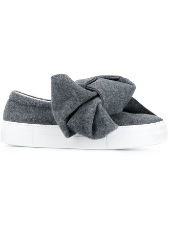 bow women sneakers leather wool grey shoes