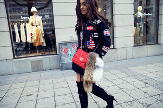 fanny lyckman blogger red bag knee high boots bomber jacket
