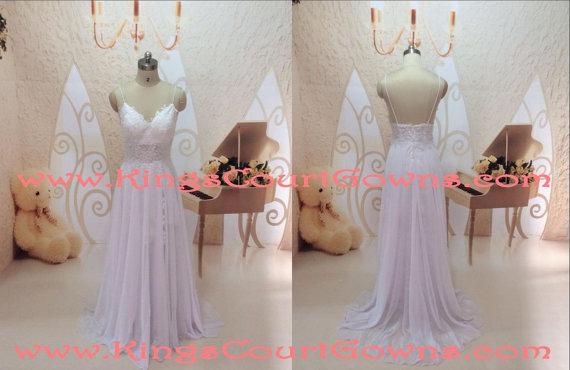 Replica lace backless chiffon wedding prom dress gown