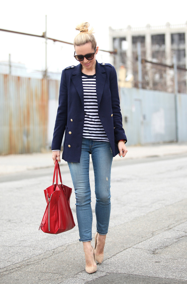 brooklyn blonde jacket t-shirt jeans shoes bag