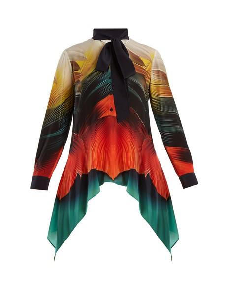 blouse print silk orange top
