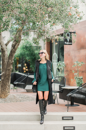modern ensemble blogger dress jacket shoes jewels sunglasses green dress boots sleeveless coat winter outfits