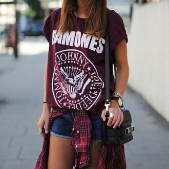 shirt red purple ramones top hipster comfy band t-shirt t-shirt red ramones ramones burgundy