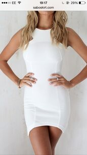 dress,curved hem,white,no sleeves,similar,short,bodycon,cut-out,similar to this
