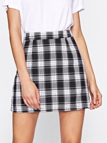 7ef03b5b2 skirt, girly, black, black and white, checkered, plaid, mini, mini ...
