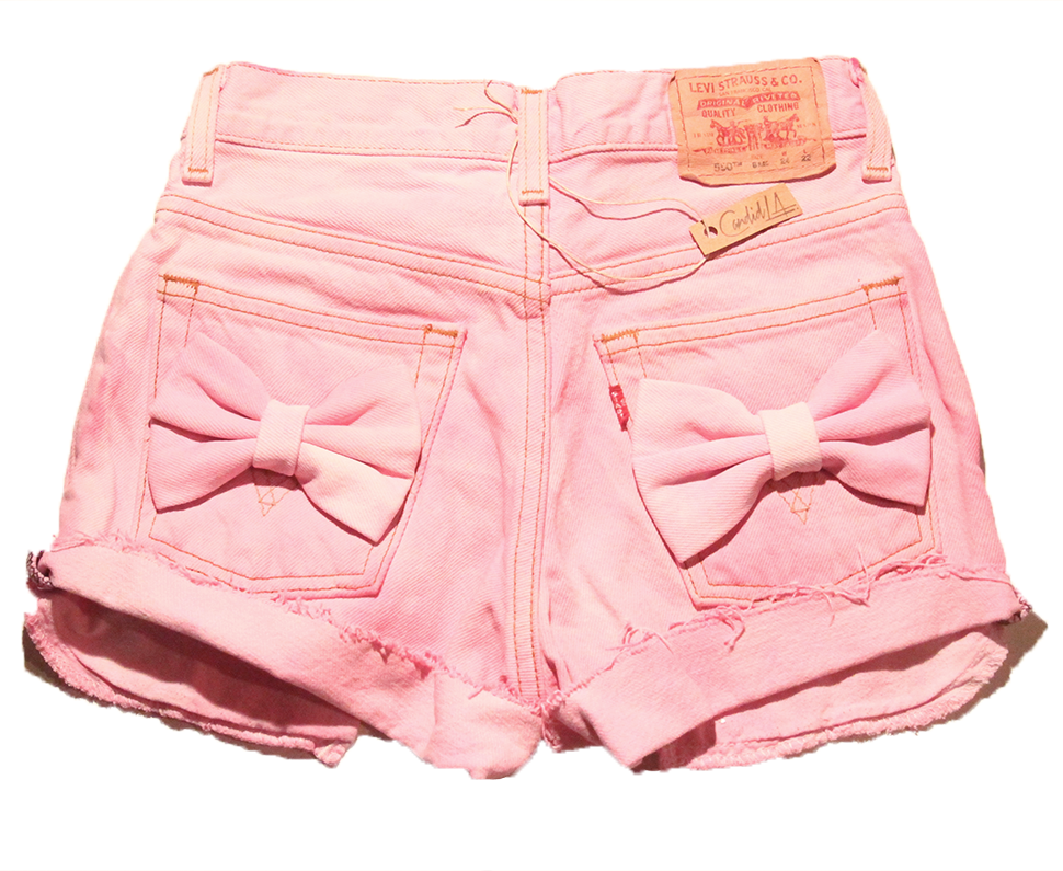 pink high waist shorts with bows | Candid L.A.