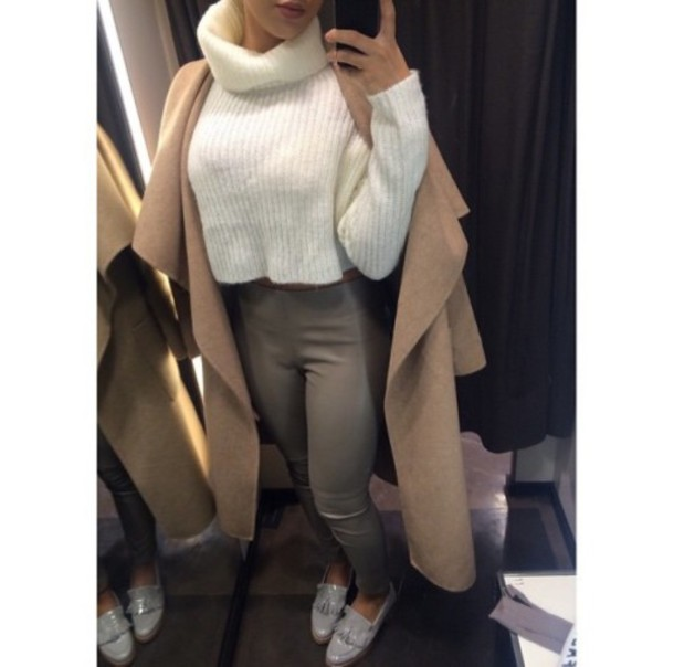 sweater tan winter outfits turtleneck cozy sweater white top white coat trench coat brown suade cute brown trendy